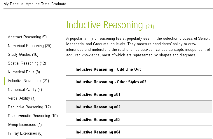 Inductive Reasoning tests